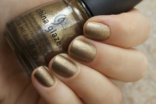 11 China Glaze Autumn Nights Goldie But Goodie with Matte Magic Top Coat