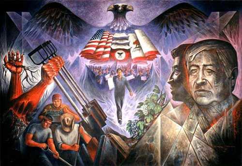 Mural en Los Ángeles dedicado al líder chicano César Chávez Foto cortesía del pintor