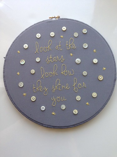 Coldplay stars quote. Custom grey and yellow