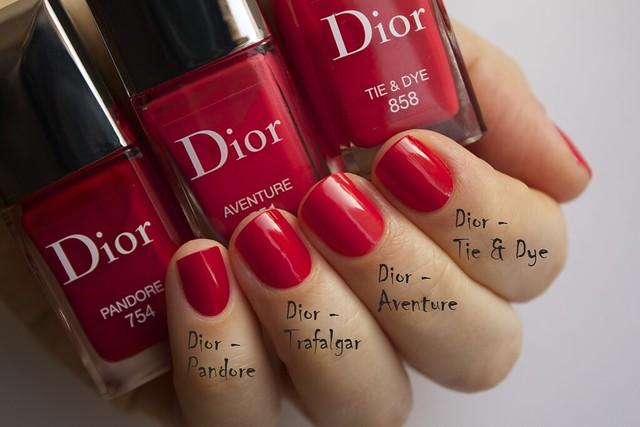 20 Dior 551 Aventure, Pandore swatches comparison