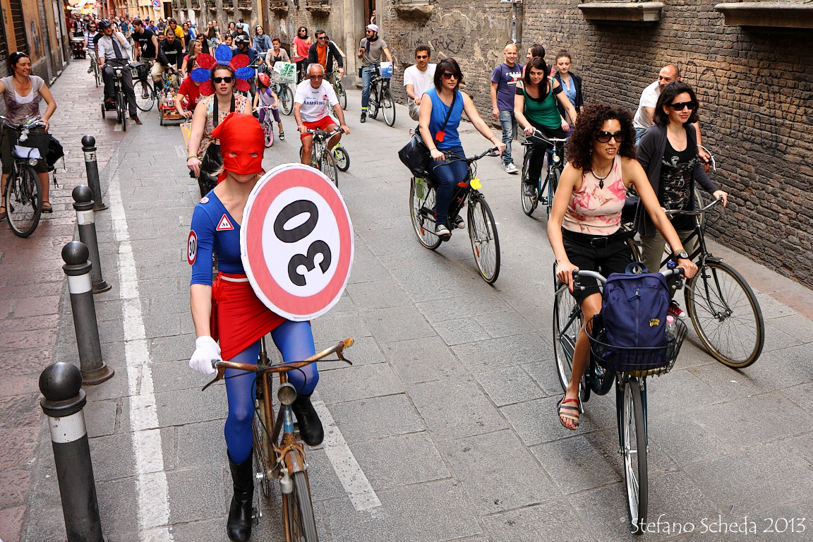 Cyclists flow at Bike Pride Parade - Bologna
