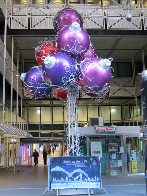 Christmas decorations at Liverpool Street Station