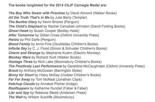 2014 CILIP Carnegie Medal longlist