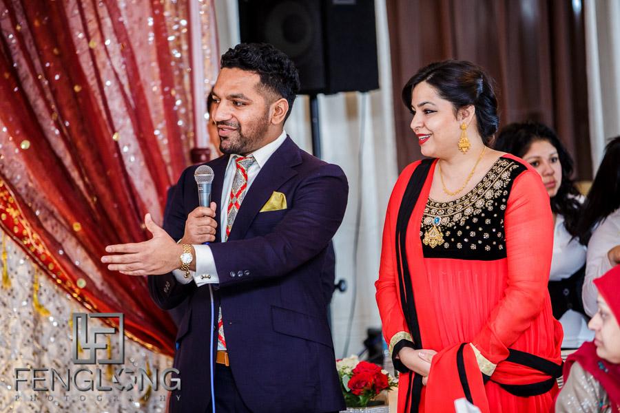 Guest speeches during wedding reception