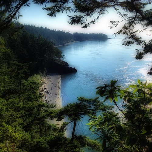 Looking down at the beach at Deception Pass WA by @MySoDotCom