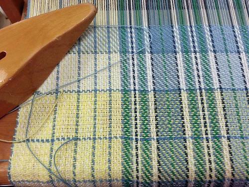 Detail experiment for plaid counterpane handwoven tea towels
