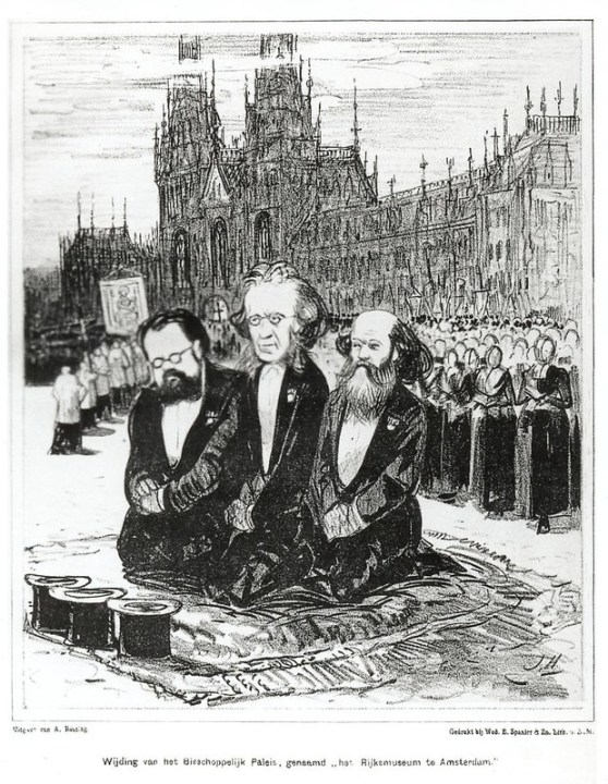 Spotprent van J.P. Holswilder op het Rijksmuseum kort na de opening in 1885.