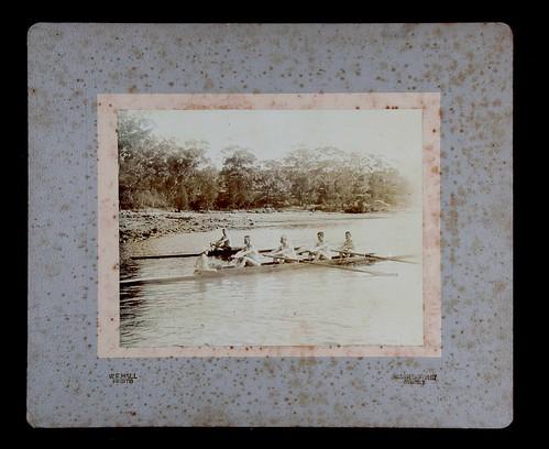 Sydney Rowing Club Fours training on the Parramatta River, Sydney
