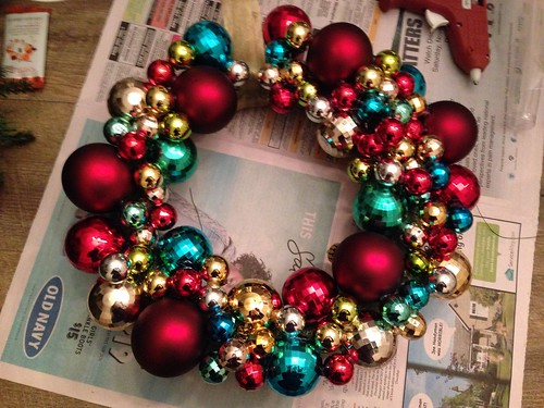 Handmade wreath with ornaments