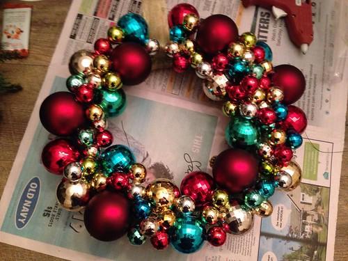 Handmade wreath with ornaments