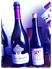 example of a bottle sealed with a vacu vin and a 375 ml bottle sealed with a cork