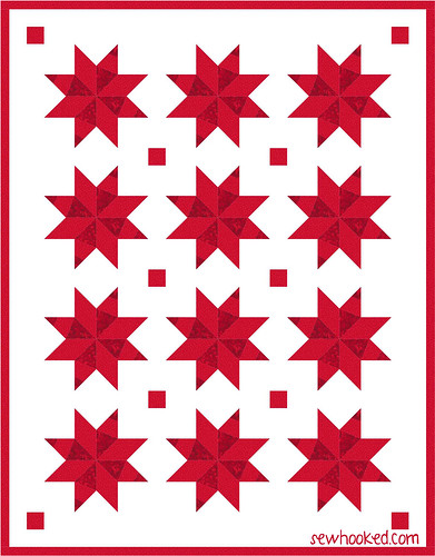 january one block quilt - red & white