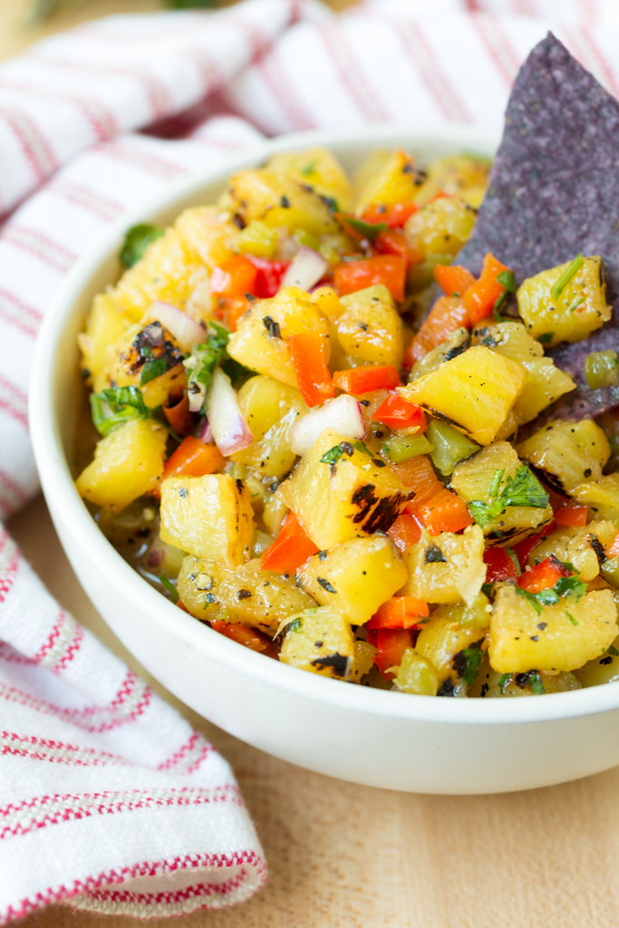 Grilled Pineapple Salsa, served