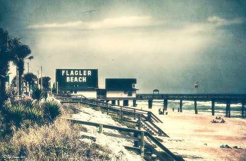 Vintage Retro look of Flagler Beach in Early Spring image