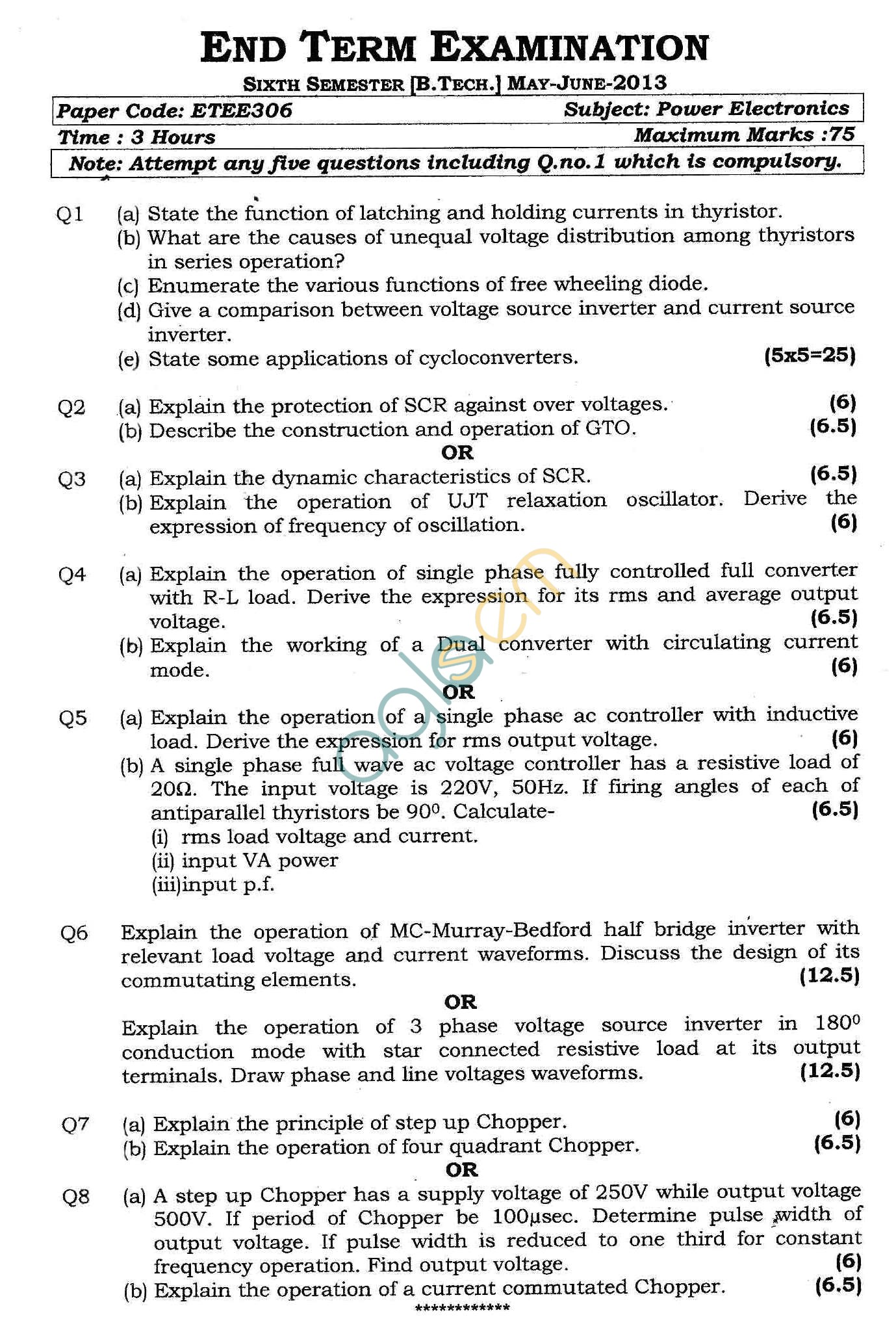 GGSIPU Question Papers Sixth Semester – End Term 2013 – ETEE-306
