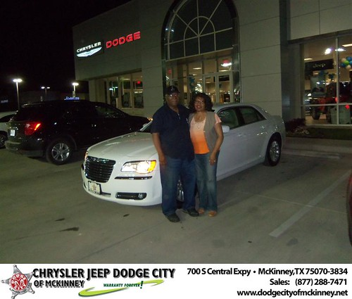 Dodge City of McKinney would like to say Congratulations to Cynthia Johnson on the 2013 Chrysler 300 by Dodge City McKinney Texas