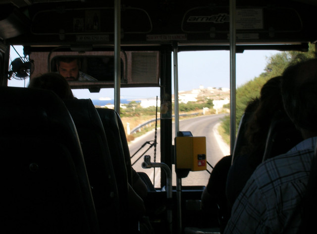 Paros, Greece bus ride from Parikia.