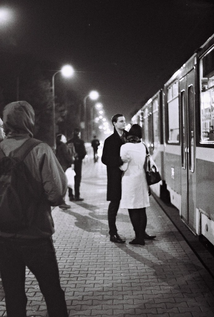 Praktica BC1 - Couple at Tram Stop