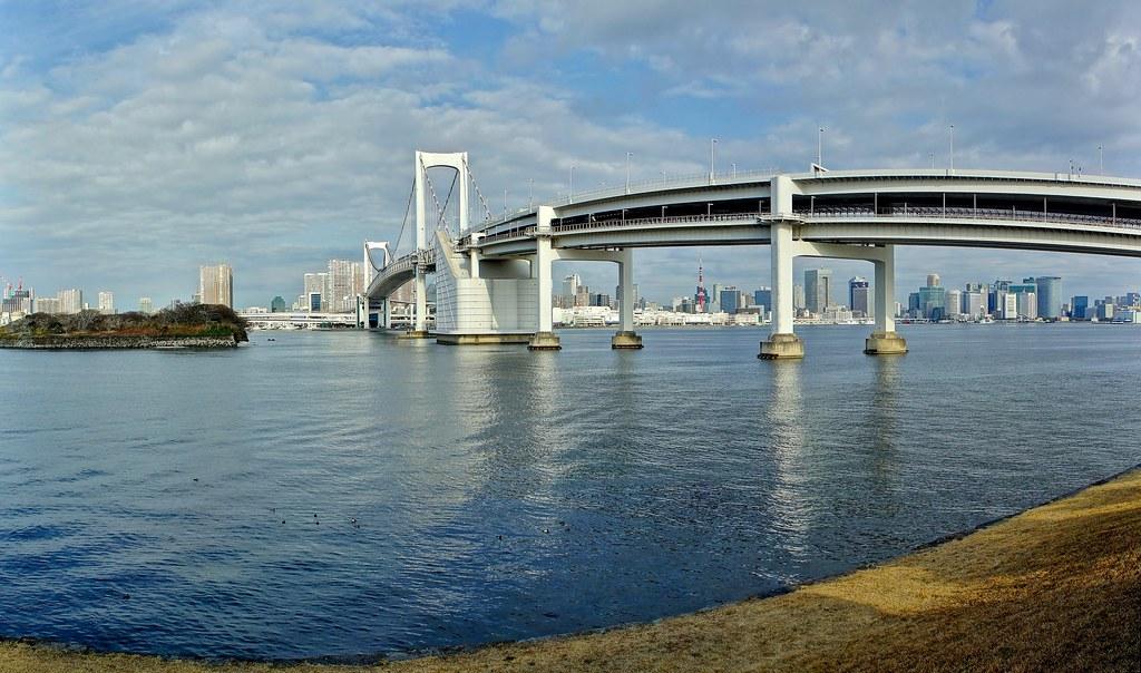 Third Daiba Gardens with the Rainbow Bridge view