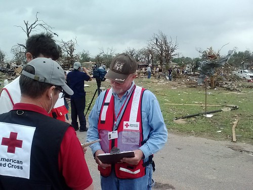 Red Cross teams meet to determine how to best get help to residents of the Rancho Brazos community in Granbury, Texas