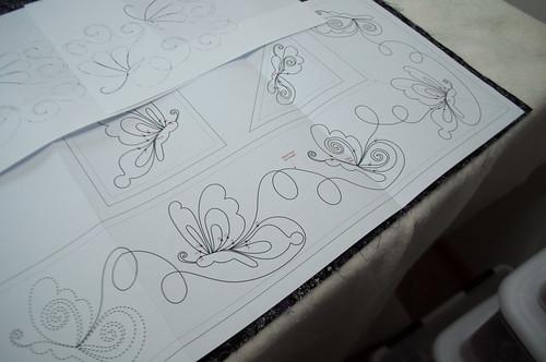 Auditioning quilting designs.