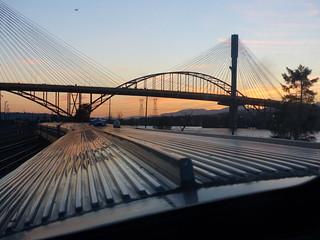 Sunset Behind the Port Mann Bridges