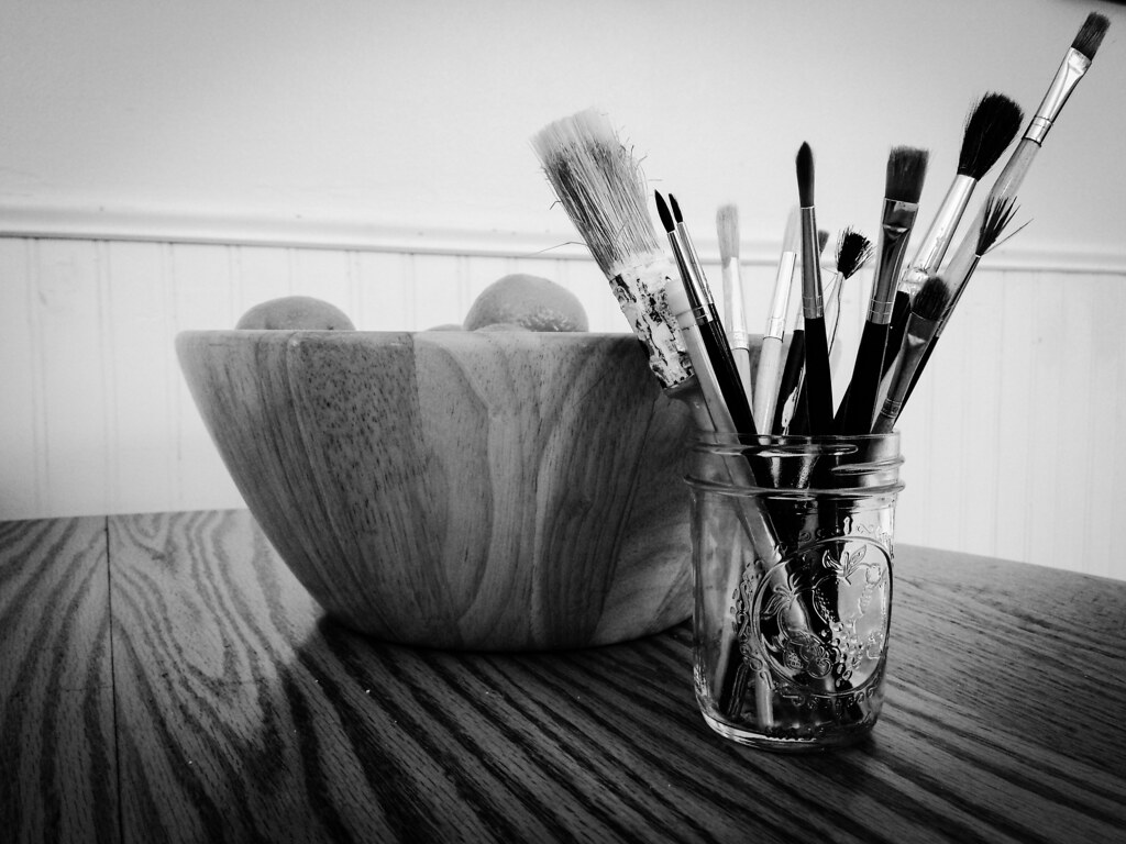still life with brushes & clementines