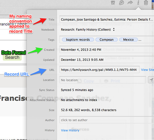 Evernote for Genealogy Note metadata