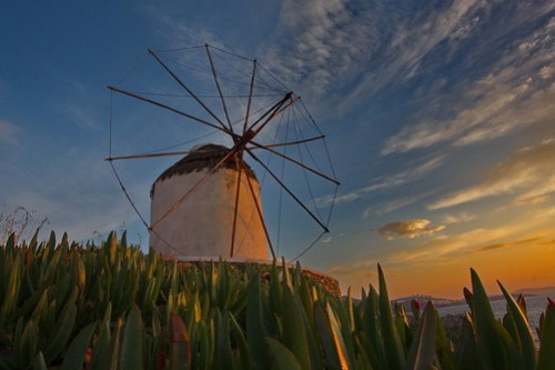 Wind-Mill of Mykonos at Sunset