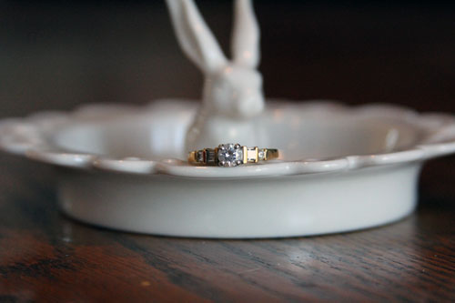 my original engagement ring on a bunny dish
