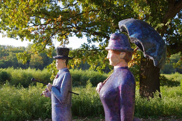 "Tuesday Afternoon on Credit Island, Davenport, Iowa - Painted wood sculptures inspired by Georges Seurat's  ""Sunday Afternoon on the Island of La Grande Jatte"""