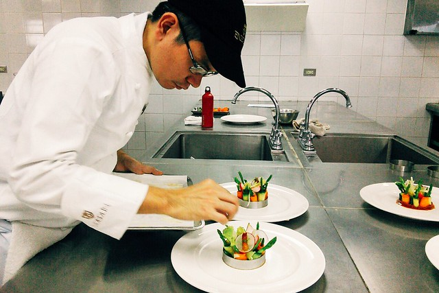 Plating the Appetizer — Salad of Raw and Cooked Vegetables