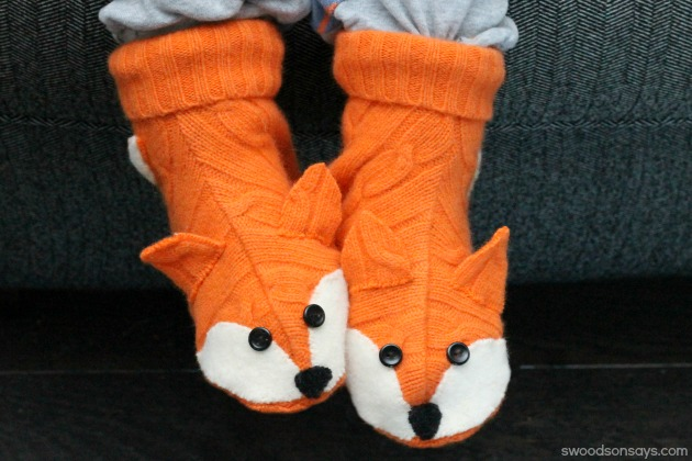 Upcycled Wool Fox Slippers - Swoodson Says
