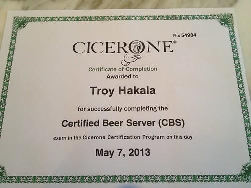 I'm a Certified Beer Server!