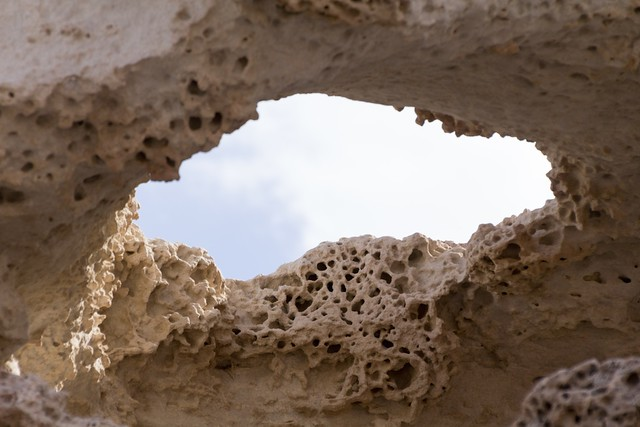Hole in overhead sandstone structure