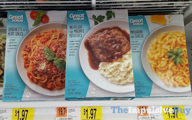 Great Value Spaghetti, Meatloaf, and Macaroni and Cheese Entrees