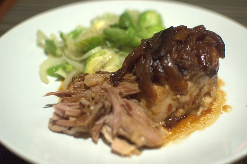 Slow-cooked apple BBQ pork