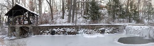 Waterwheel and waterfall, Monroe, N.Y.