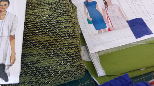 wild card fabric - green knit for jacket, viscose for dress