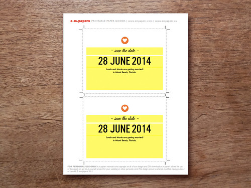 Simple Heart Save the Date Printable Template