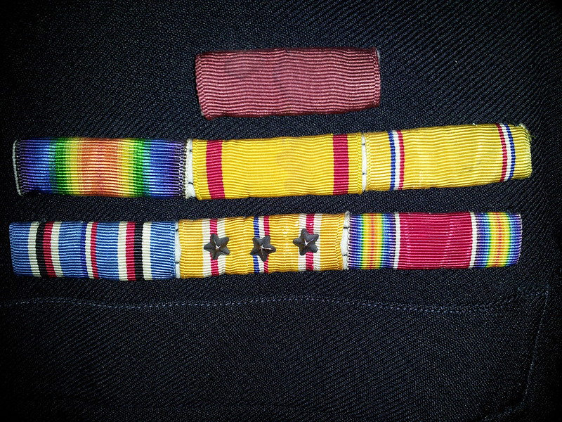 Navy custom, sewn-on ribbon rack