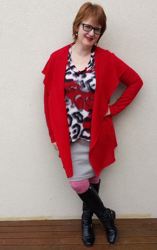 StyleARC Laura cardi in Darn Cheap Fabric textured poly/spandex