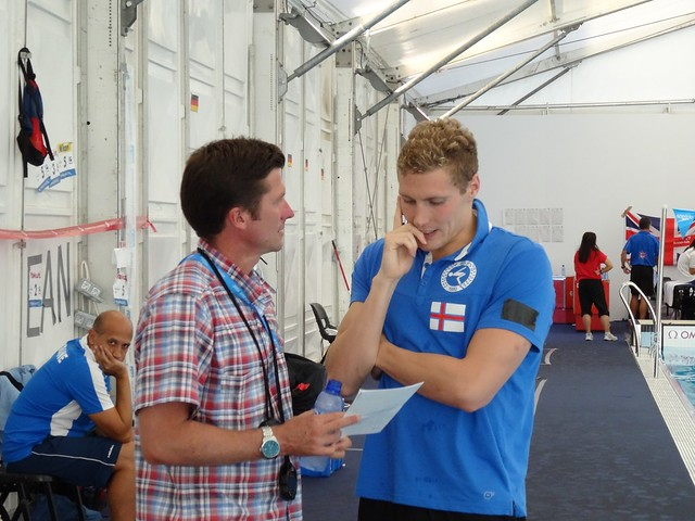 Pál and coach after the BCN2013 men's 1500 free