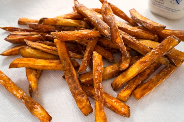sweet potato fries and salt