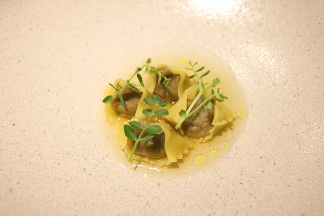 Agnolotti, mushroom and rye dashi