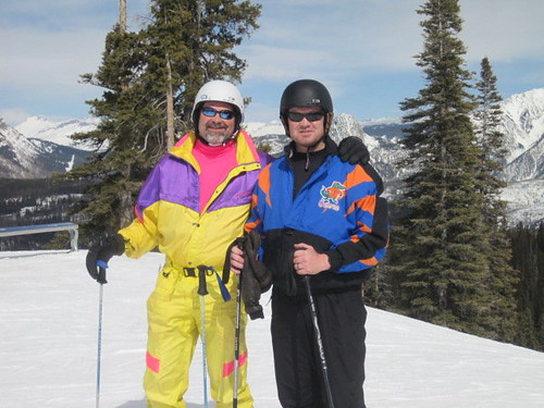 Trent Sisco skiing with a friend