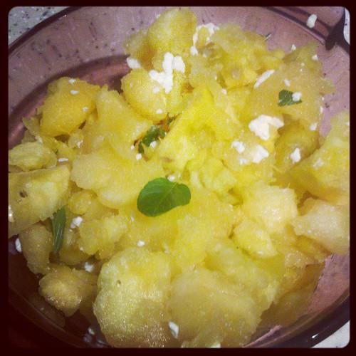 Yellow watermelon, feta, and mint salad #csa