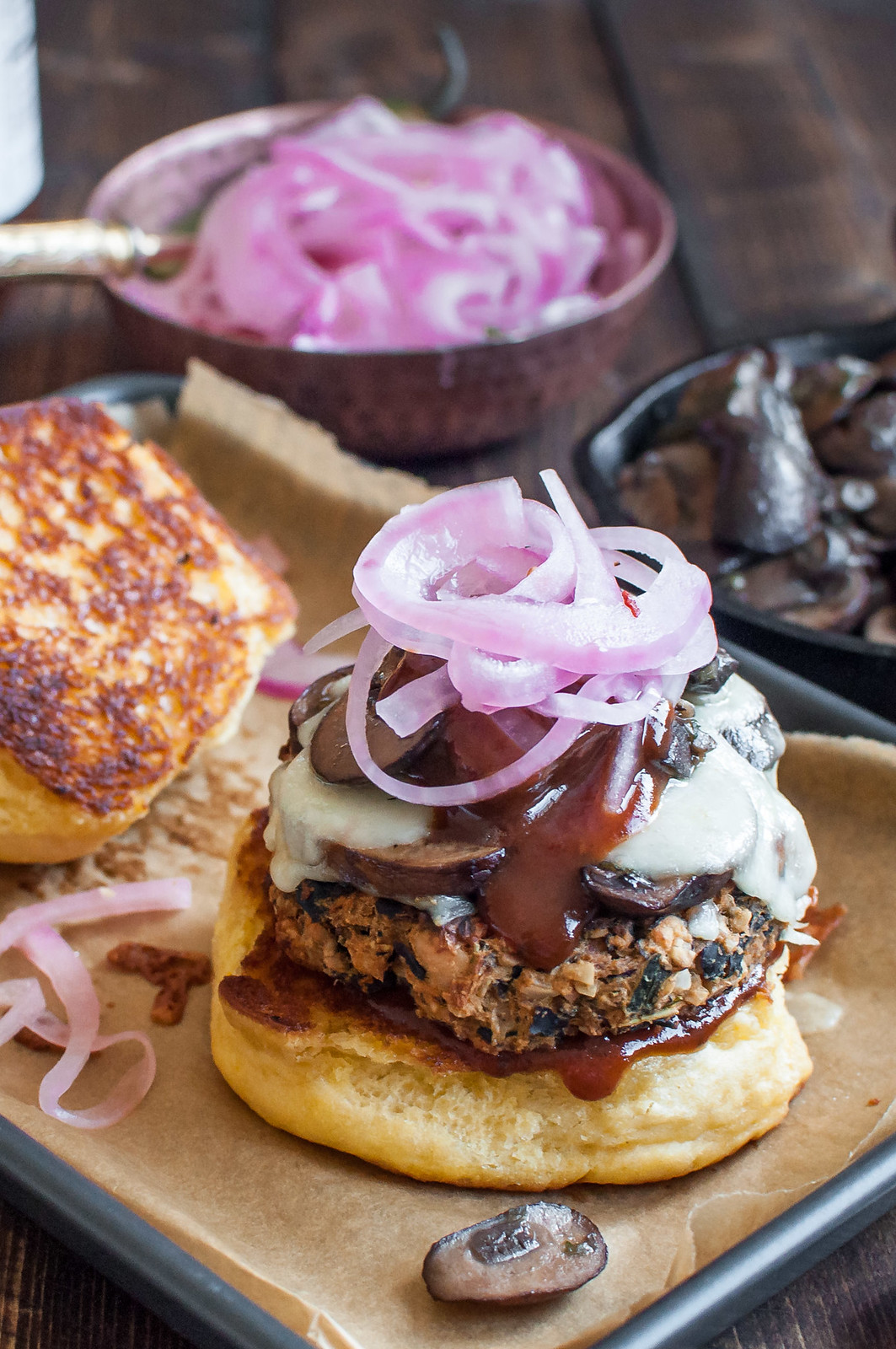 The ultimate tex-mex BBQ black bean veggie burger (gluten-free/vegan option)
