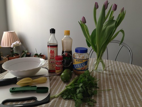 Ingredients for cilantro lime marinade