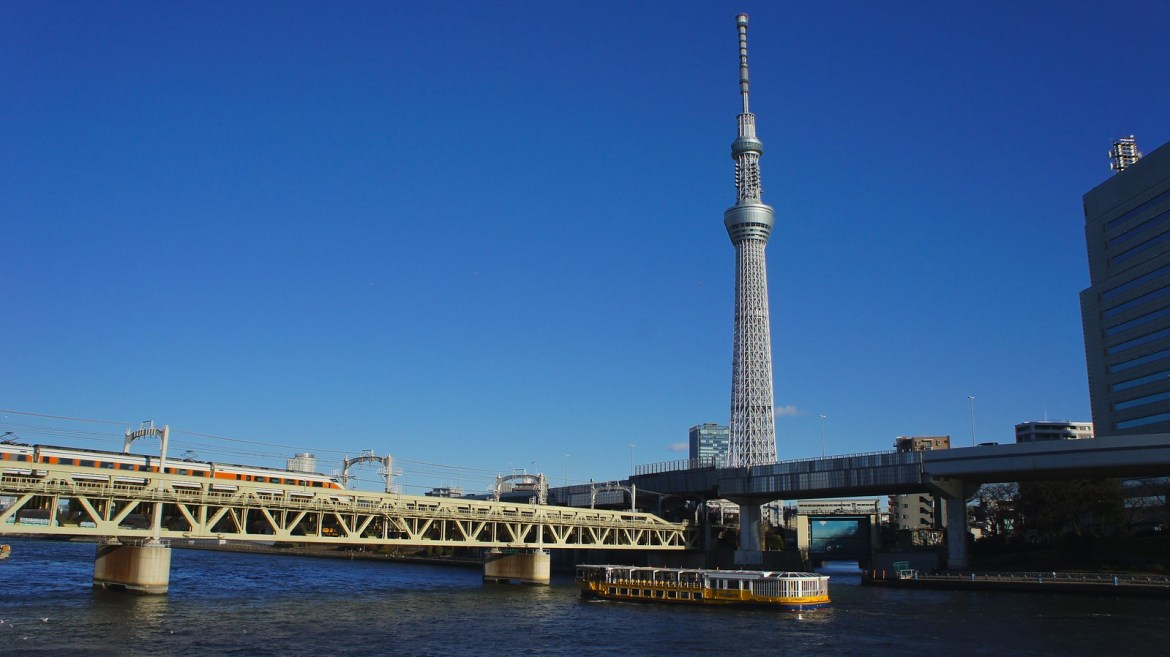 View of Skytree from the Tully's Coffee Cafe on banks of Sumida River